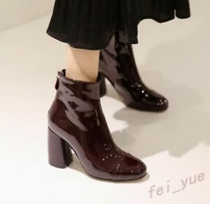 Womens-Patent-Leather-Round-Toe-High-Cuban-Heels-Zip-Party-High-Top-Ankle-Boots