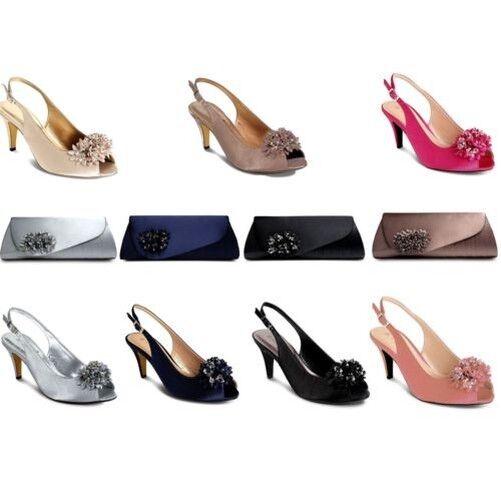 Mujer Floral Cuentas Tacón Bajo Punta Abierta Zapatos Formales Bolso de mano