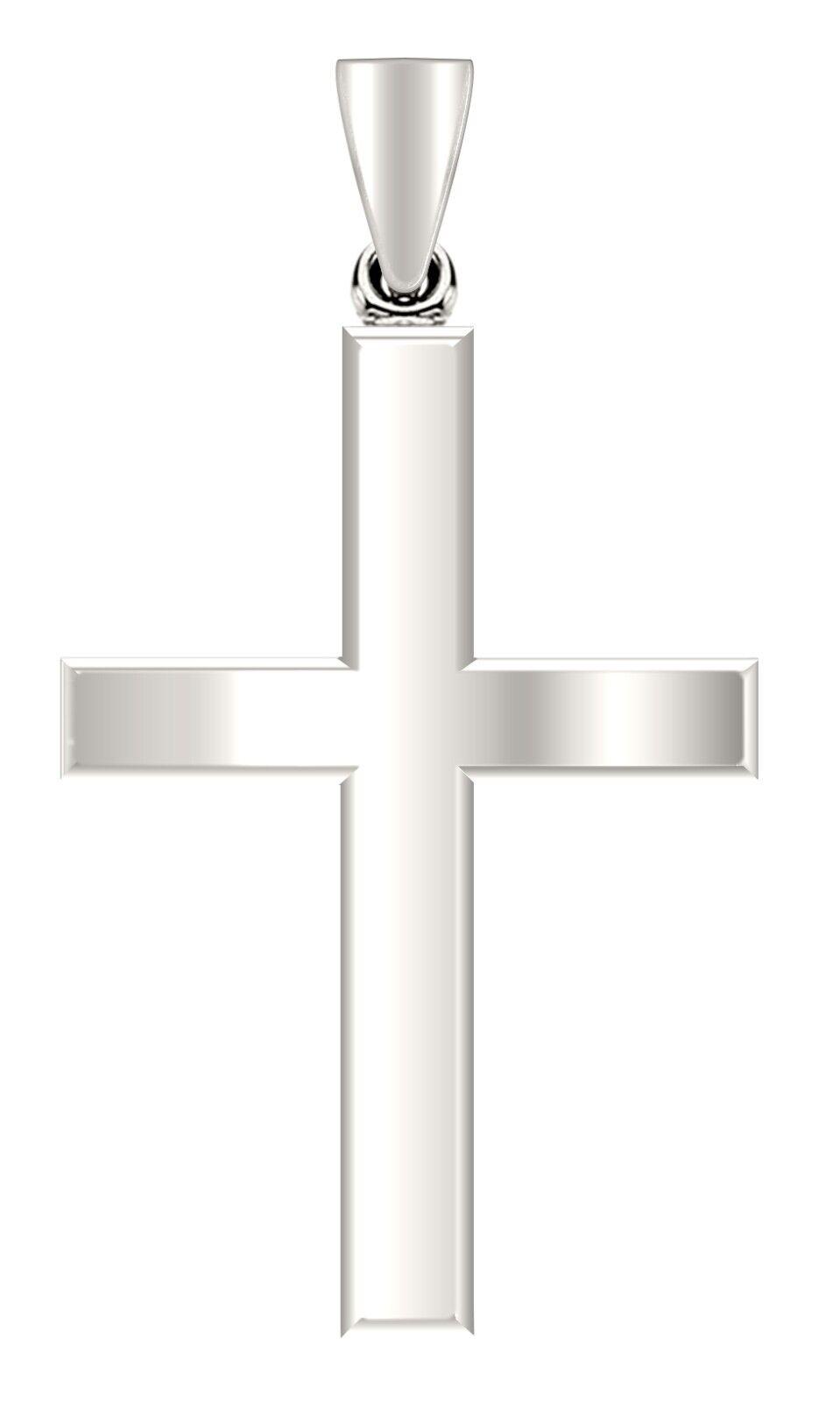 14K Or Blanc Poli petite croix médaille pendentif