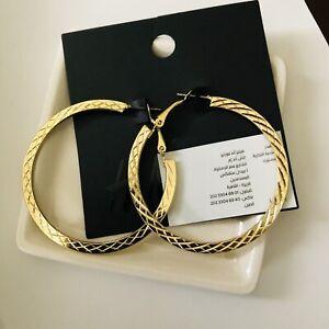tone Gold 40mm Hoop /& Cross earrings NEW.
