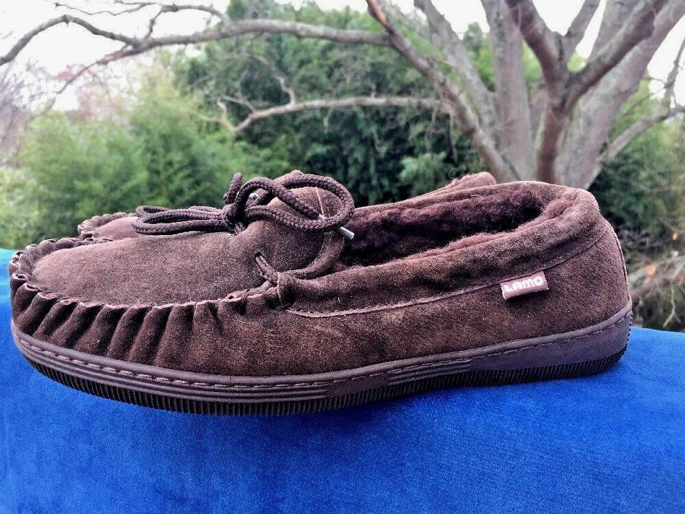 Apres by LAMO Suede Fuzzy Fur Chocolate Moccasins Slippers Shoes Womens Size 8