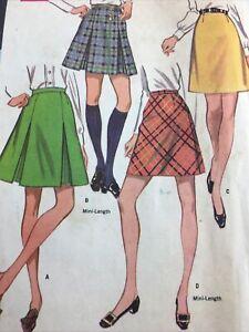 1968 McCalls 9421 Vintage Sewing Pattern Womens Skirt Size Waist 27 Hip 38