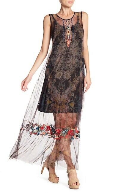 NWT Johnny Was BIYA Yemasse Mesh Embroidered Floral Slip Maxi Midi Dress S L XL