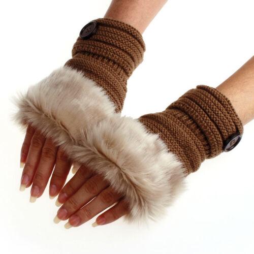 Mode hiver chaud femmes Faux Rabbit Fur main poignet tricot Mitaines
