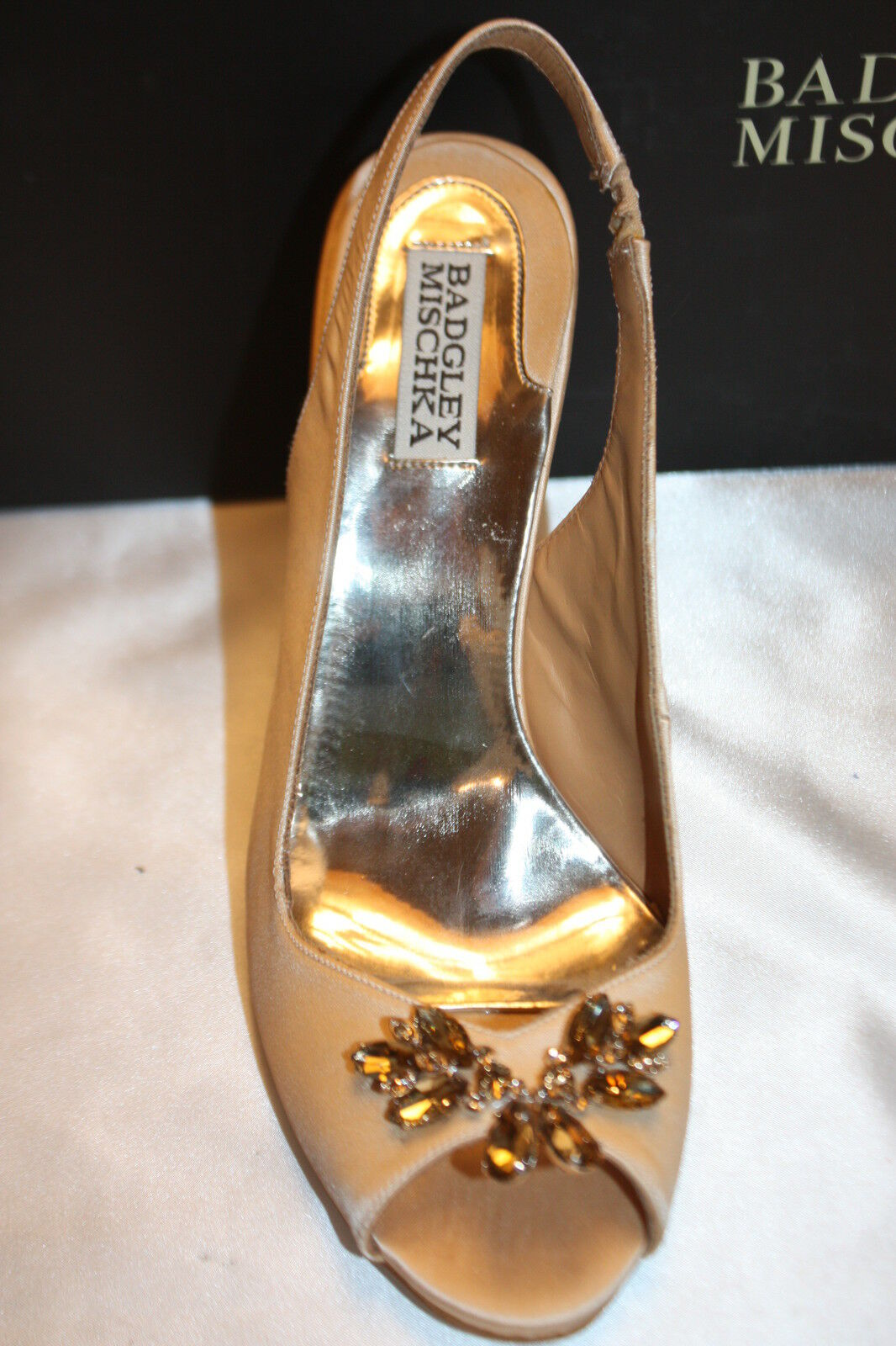 NEW  BADGLEY MISCHKA Natural Satin Satin Satin SALLY Heels Open Toe Bridal Wedding 8  200 aceb98