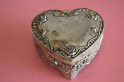 Vintage Jewelry Box Heart Trinket Box Vintage Trinket Box Silver Trinket Box Velvet Heart Box Silver Heart Box Silver Jewelry Box