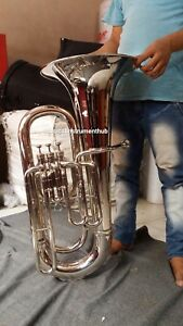 TUBA-EB-FLAT-OF-PURE-BRASS-IN-SILVER-POLISH-CUSHION-CASE-MOUTHPC-FREE-SHIP