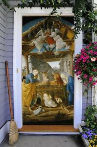 Nativity Scene Christmas Door Murals Front Door Cover