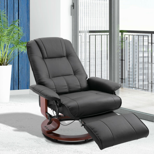 Faux Leather Adjustable Traditional Manual Swivel Recliner Chair Ottoman Black