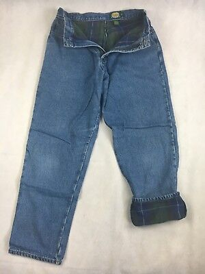 Women's Size 12 Strengthening Sinews And Bones Cabela's Plaid Flannel Lined Denim Blue Jeans Clothing, Shoes & Accessories