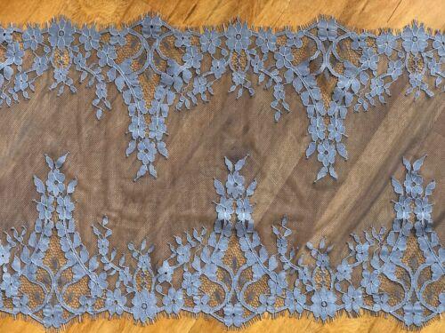 """laverslace Cornflower Blue Floral Extra Wide Tulle Eyelash Lace Trim 13/""""//33cm"""