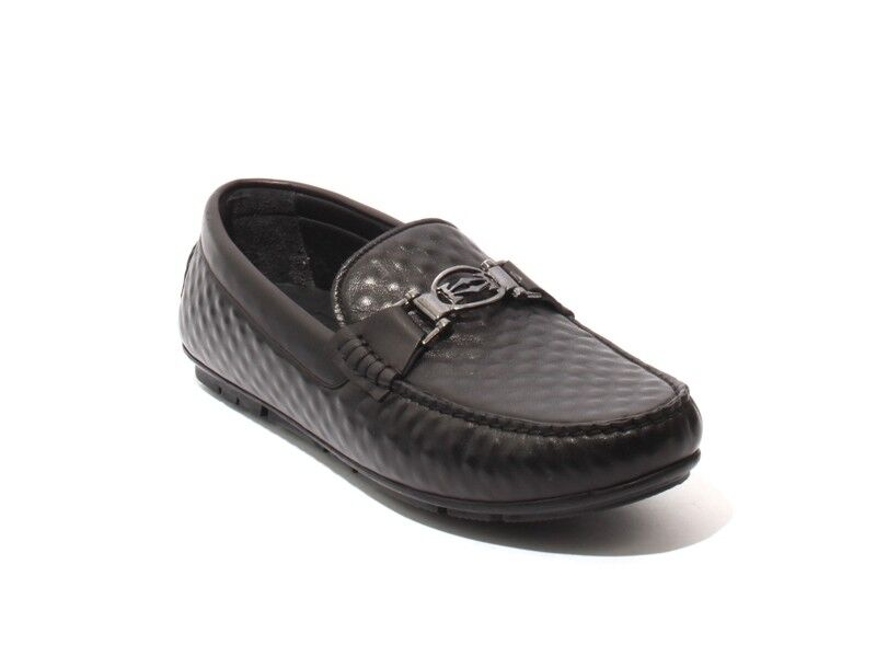 ROBERTO SERPENTINI m2 Black Soft Leather Slipper Moccasins Loafers 42 / US 9