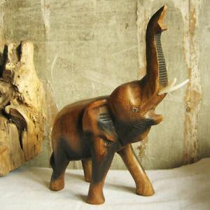 ELEFANTEN-Ruessel-oben-H-25-cm-Holzelefant-elephant-Chang-Thailand-Dickhaeuter
