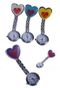 Enfermera-Con-Clip-De-Bolsillo-Broche-Colgante-Corazon-Reloj-Cuarzo-Nuevo