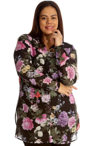 New Womens Plus Size Shirt Ladies Floral Print Top Chiffon Collared Button Cuffs