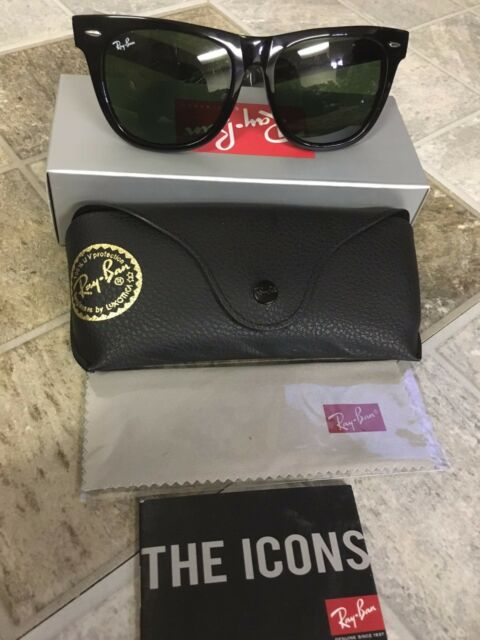 d2b4f37afbec3 ... low price new original black wayfarer ray ban sunglasses rb2140 901 50mm  unisex green lens 8db96