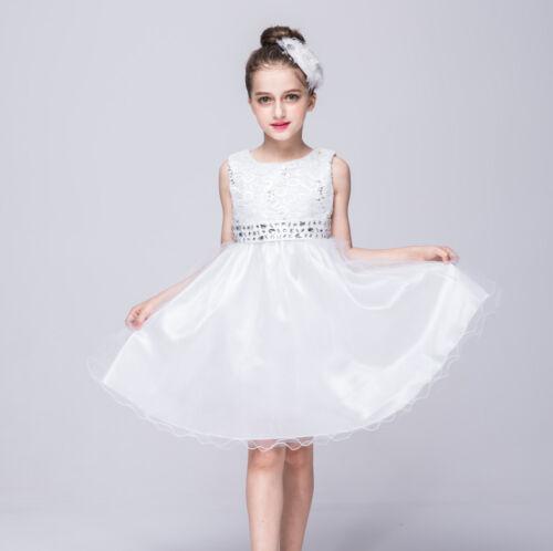 Gorgeous Wedding Flower Girl/'s Sequined Shining  Crystal Waist Evening Dress up