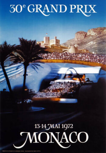 AV98 Vintage 1972 30th Monaco Grand Prix Motor Racing Poster Art Re-print A4
