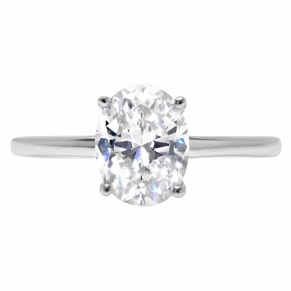 2.7ct Oval Cut Designer Bridal Engagement Promise Ring Solid 14k White gold