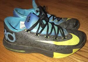 808dbfeb0989 NIKE KD VI KEVIN DURANT BLACK VOLT VIVID BLUE GREY Basketball Shoes ...