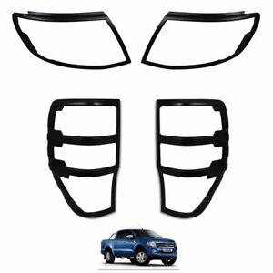 MATTE-BLACK-Front-amp-Rear-Light-Cover-Trims-for-Ford-Ranger-T6-Raptor-2012-2015