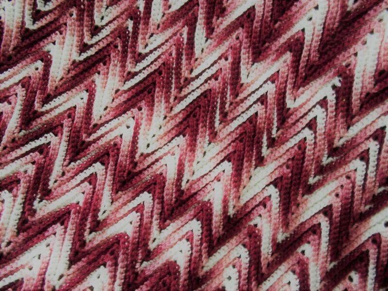 pink RIPPLE Handmade Crochet Afghan Blanket throw Vintage Ex Condition
