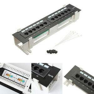 12-Ports-CAT5E-Patch-Panel-Network-Both-Surface-Wall-Mount-Rack-Mount-Bracket