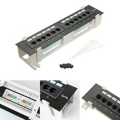 12 Ports CAT5E Patch Panel Network Both Surface Wall Mount & Rack Mount Bracket