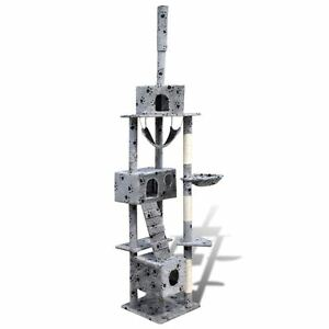 """Cat Tree Scratching Post 87"""" - 94"""" 3 Condos Gray w/ Paw Prints Furniture"""