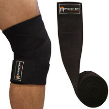 MEISTER BLACK KNEE WRAPS w/ HOOK CLOSURES (PAIR) Power Weight Lifting Support