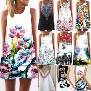 Women-Sleeveless-Summer-Boho-Printed-Beach-Casual-Loose-Mini-Shirt-Beach-Dress