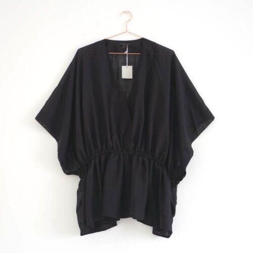 Hof115 Kimono top noire blouse laine en qXFxqrU