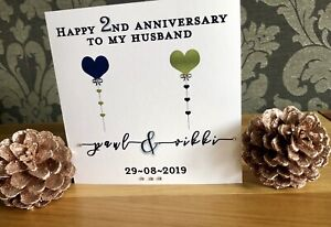 Handmade-Personalised-1st-2nd-4th-5th-6th-7th-10th-Anniversary-card-Husband-Wife