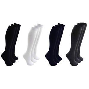 4 Pairs  Girls Knee High  Cotton Socks  Plain Kids Back to School Cotton Rich