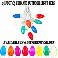 Novelty Lights C7 Outdoor Ceramic Christmas String Light Set -white Wire- 25'