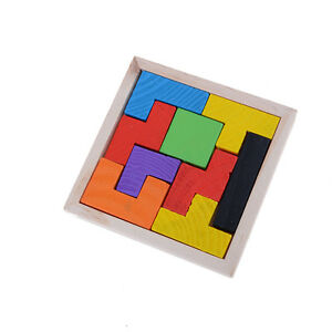 Wooden Tangram Jigsaw Tetris Puzzle Toy For Kids 9Pieces Educational Game BR