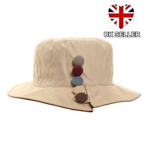 LADIES-RAIN-HAT-SHOWERPROOF-WIDE-BRIM-COUNTRY-BUCKET-HAT-4-COLOURS-UK-SELLER