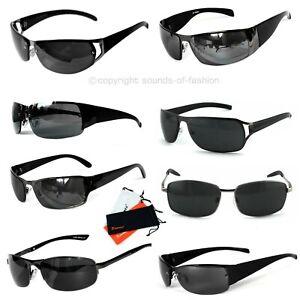 Rennec-Lunettes-de-soleil-cadre-en-metal-Sportif-etroit-Noir-Cool-Security-uv400