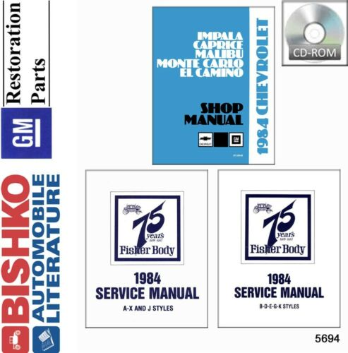 1984 Chevrolet Monte Carlo El Camino Shop Service Repair Manual CD OEM Guide