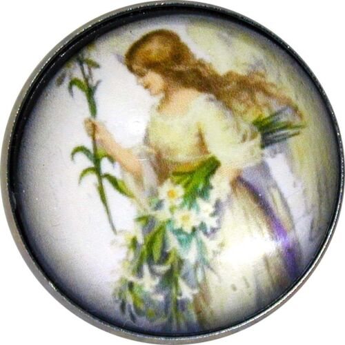 1 inch Crystal Dome Button Angel  Holding Easter Lily  FREE US SHIPPING