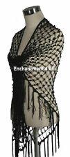 Exotic Crochet Net Triangular Shawl Wrap Belly Dance Hip Scarf w/ Sequins, Black