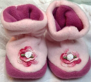 3b7401d787026 Details about NEW PINK FLEECE SLIPPERS SHOES w/ ROSE 12 18 24 MONTHS L XL  GIRLS BABY TODDLER