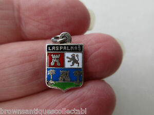 VINTAGE SILVER CHARM EPNS SILVERPLATED LAS PALMAS ENAMEL TRAVEL SHIELD PENDANT - Crewe, United Kingdom - VINTAGE SILVER CHARM EPNS SILVERPLATED LAS PALMAS ENAMEL TRAVEL SHIELD PENDANT - Crewe, United Kingdom