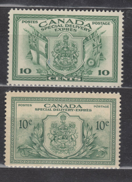 1942 #E10 & 1946 #E11 10¢ KING GEORGE VI  SPECIAL DELIVERY WAR & PEACE ISSUE NH
