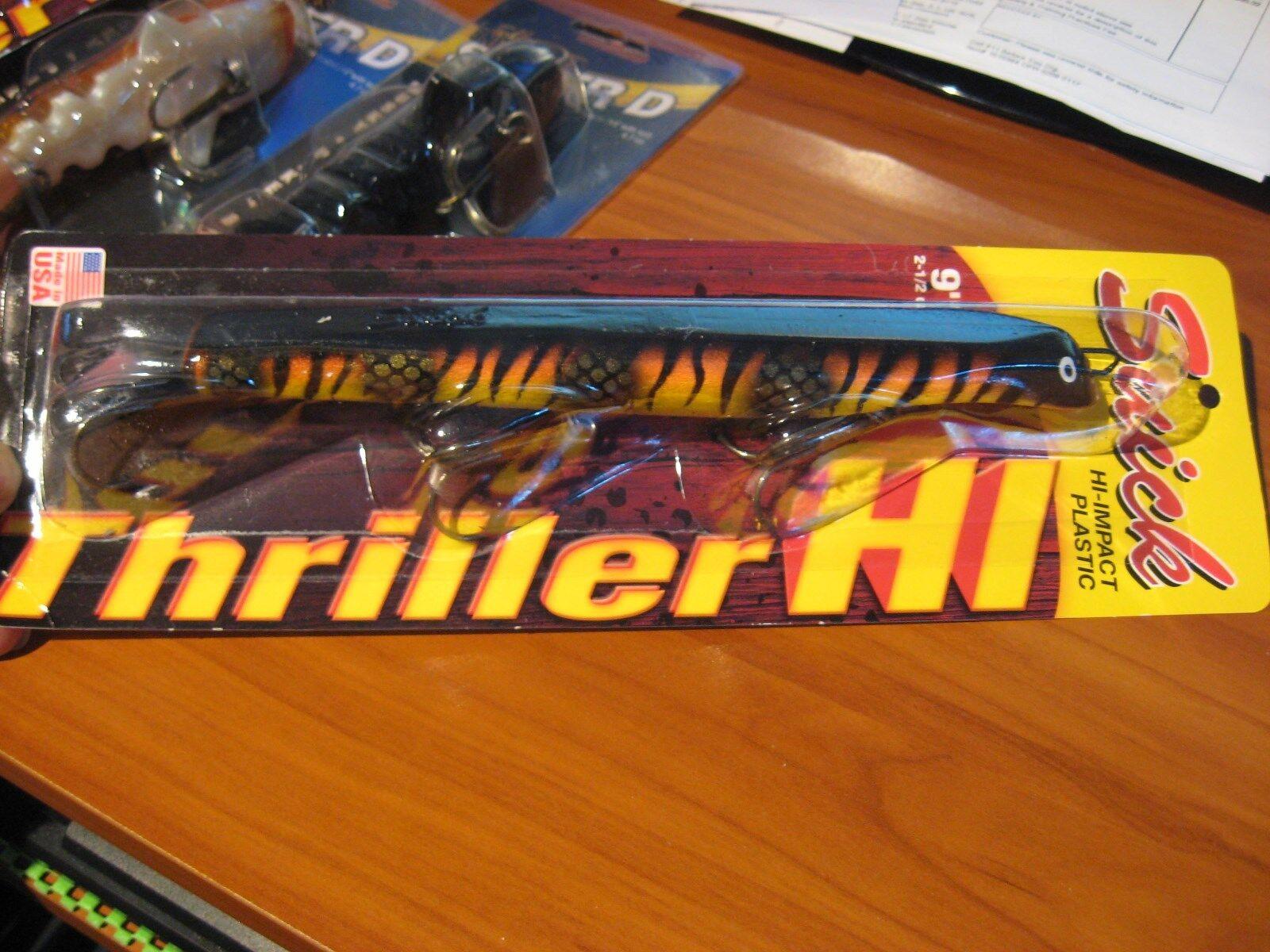 "9/"" SUICK HI IMPACT THRILLER  MUSKY PIKE MUSKIE JERKBAIT 2.4 OZ 9-11HI TS"