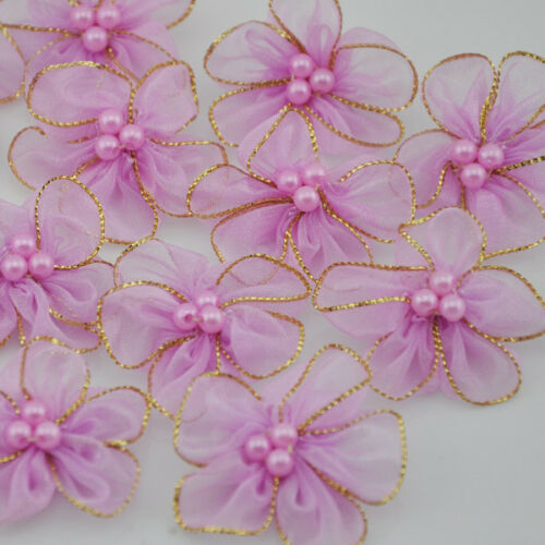 40pcs organza ribbon w//beads flowers wedding sewing appliques crafts A27