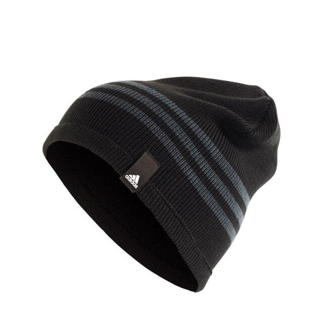 45d43c3493b adidas Tiro Beanie Wool Blend 3 Stripes Football Hat Black Grey Mens ...