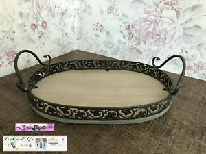 Dekoration-Metall-Holz-Tablett-Oval-Shabby-Vintage-Landhaus