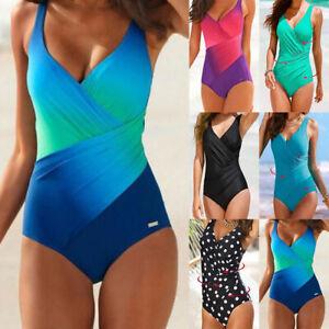 Women Tummy Control Bodysuit Swimming Costume Beach One Piece Monokini Swimsuit