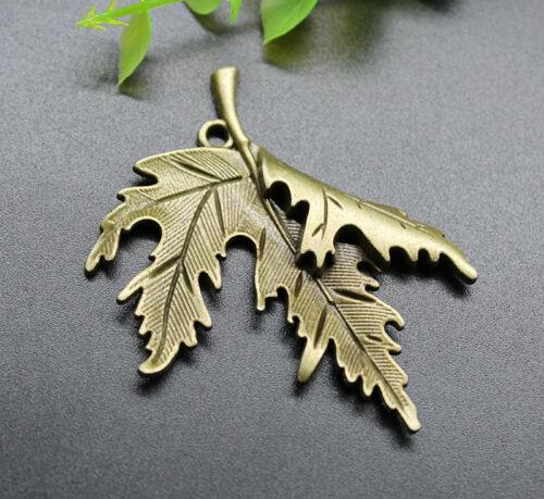 2//10pcs Jewelry Making Finding DIY Big Maple Leaf Alloy Charm Pendant 54x44mm